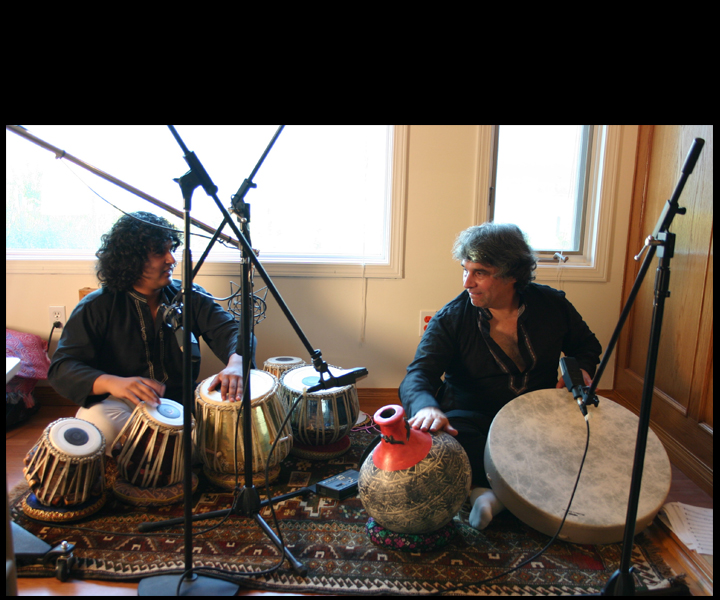 "Cassius Khan and Stu Goldberg in Stu Goldberg Studios<br>  recording ""Keherwa"" for ""Dark Clouds"" SACD"