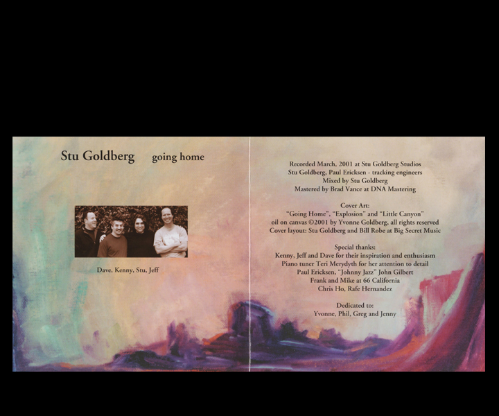 "Stu Goldberg ""Going Home"" CD - inside Booklet Pictured: Dave Renick, Kenny Goldberg, Stu Goldberg, Jeff Falkner"